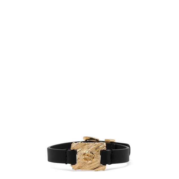 Textured metal and leather bracelet