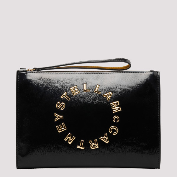 Black logo clutch bag