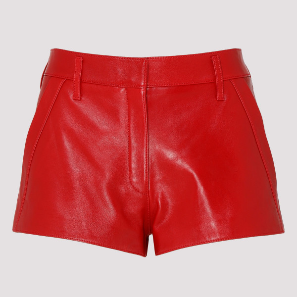 Red leather flared shorts