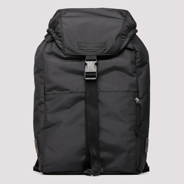 Black nylon backpack