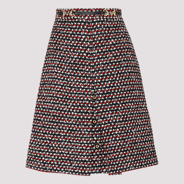 High-waisted tweed skirt