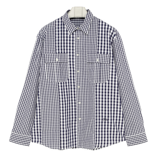 Panelled check-print shirt