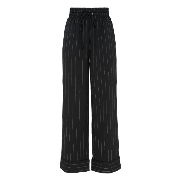 Striped heavy-weight crepe pants
