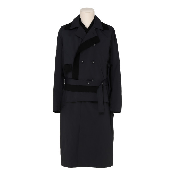 Black nylon double-breasted coat