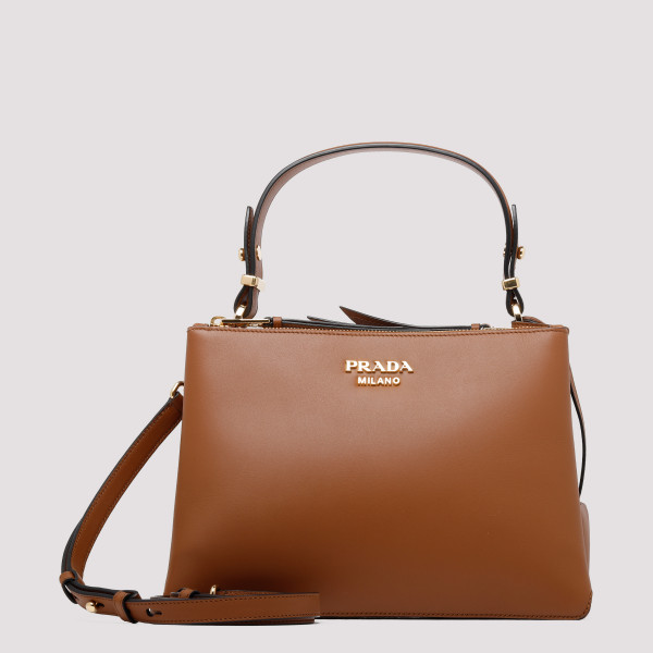Deux small camel leather bag