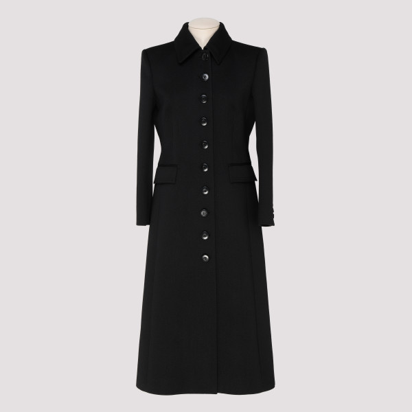 Black wool drill fitted coat
