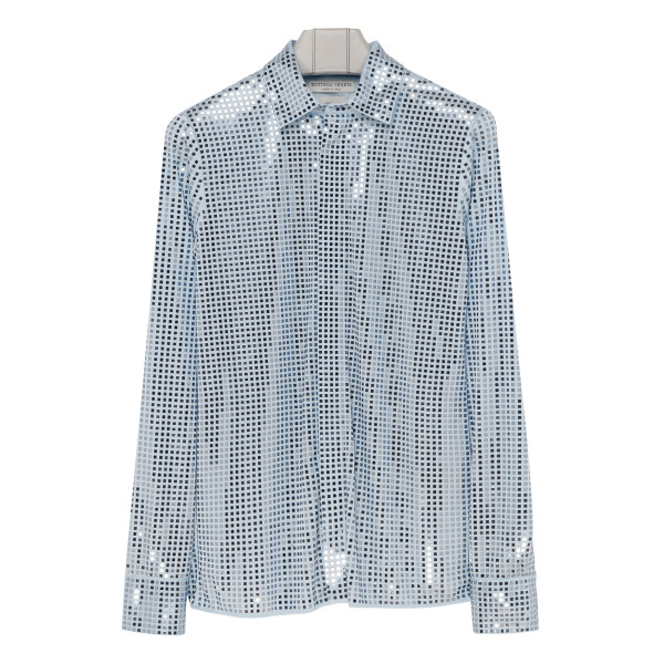 Shirt with thermo-adhesive mosaic embroidery