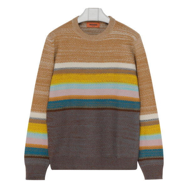 Brown and multicolor sweater