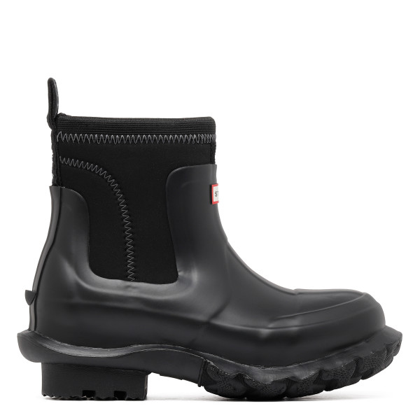 Black rubber rain boots
