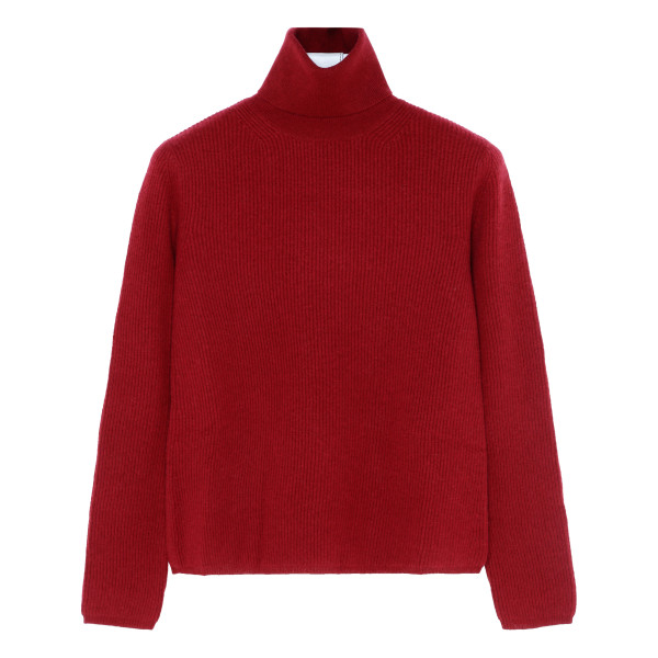 Burgundy cashmere and wool sweater