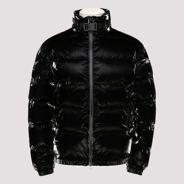 Black Puffer Coat With Buckle