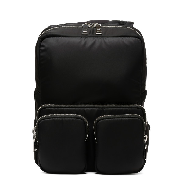 Black Padded technical fabric backpack