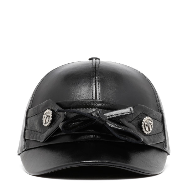 Black bow button baseball cap