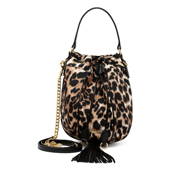 Animalier print nylon bucket bag
