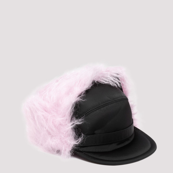 Nylon cap with pink fur