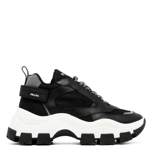 Block leather and nylon sneakers