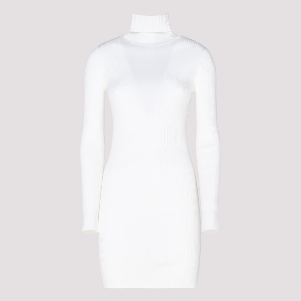 White Ribbed Wool High-neck...