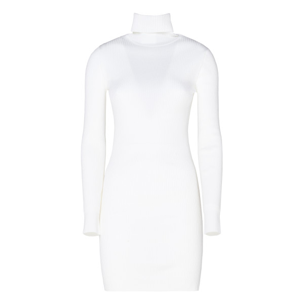 White Ribbed Wool High-neck Dress