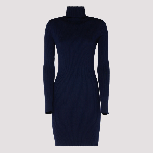 Navy Ribbed Wool High-neck...