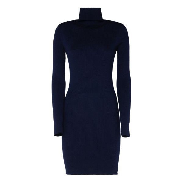 Navy Ribbed Wool High-neck Dress