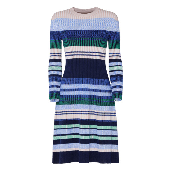 Multicolor wool striped dress