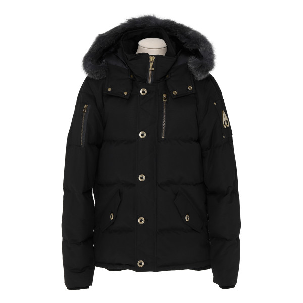 3Q black cotton and nylon down jacket