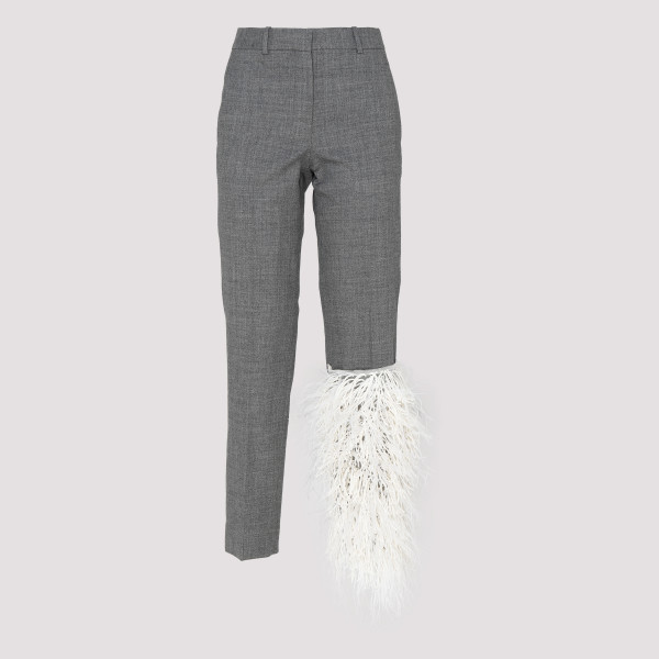 Gray pants with feathers