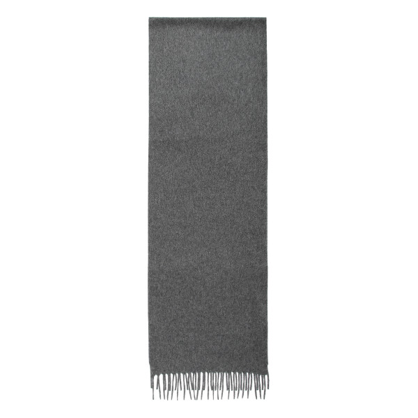 Gray fringed scarf