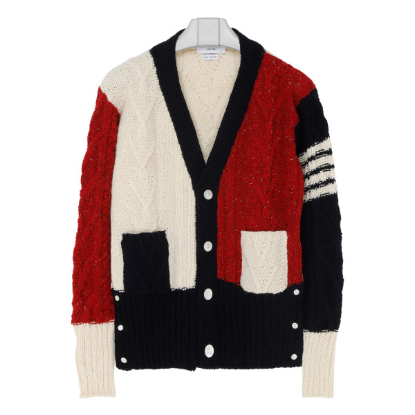 Tricolor wool-blend cardigan