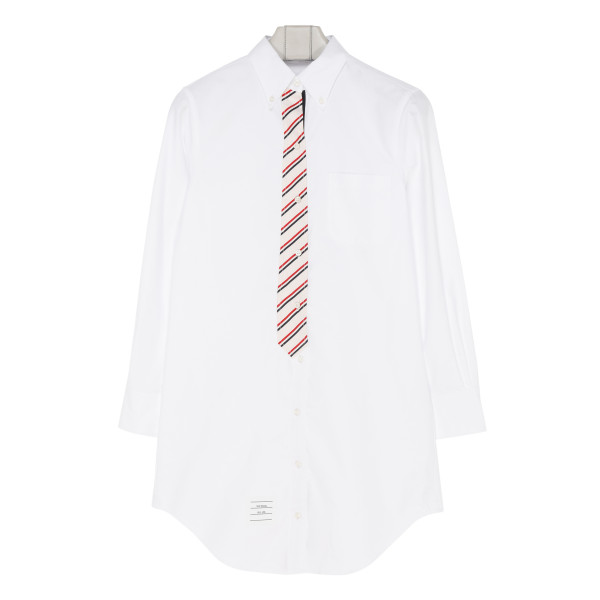 White Oxford shirt with striped tie