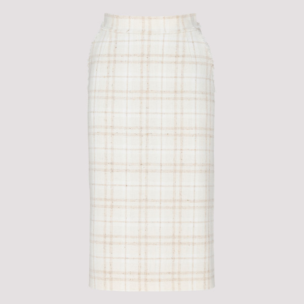 Overcheck tweed skirt