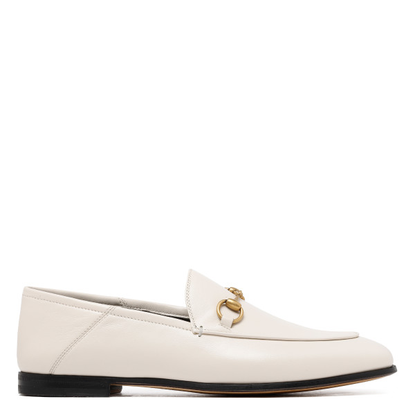 White Leather Horsebit loafers
