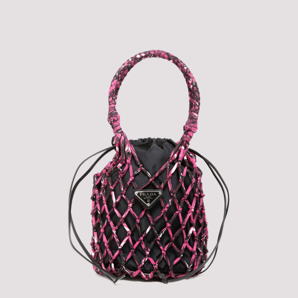 Drawstring nylon bucket bag