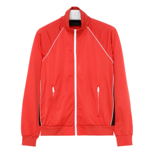 Red zipped blouson jacket