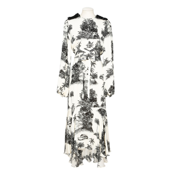 Nostalgia del Pasado toile-print silk dress