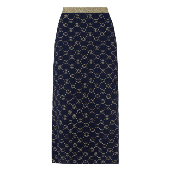 GG navy knitted wool skirt