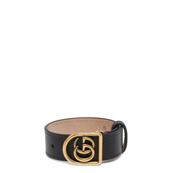 Double G black leather belt