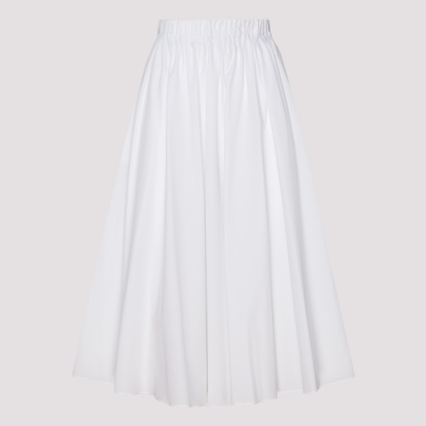 White gathered waist midi...
