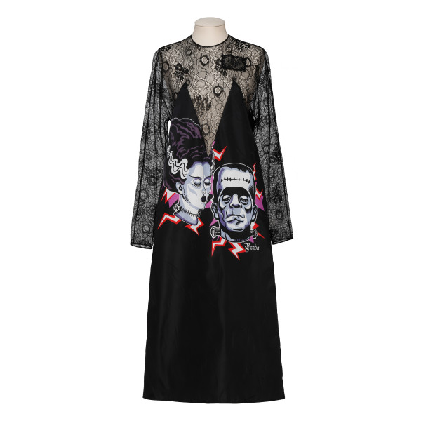 Frankenstein-Print Lace-Panel Dress