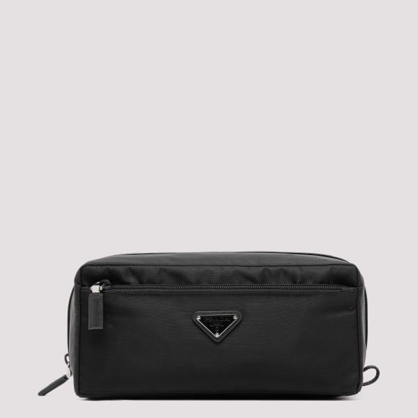 Black nylon beauty pouch