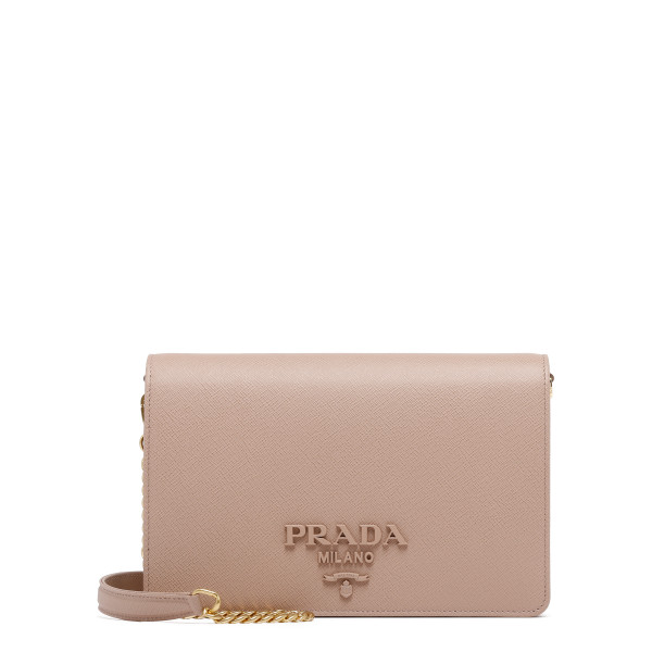 Pink leather logo shoulder bag