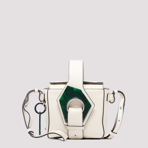 White leather micro tote bag