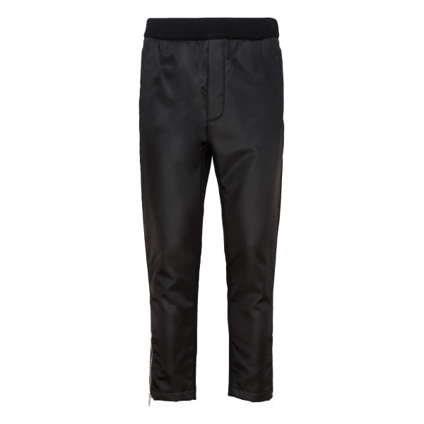 Black nylon and jersey pants
