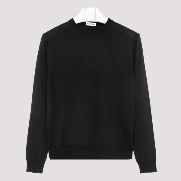 Black virgin wool sweater with logo