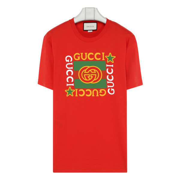Red cotton T-shirt with logo star
