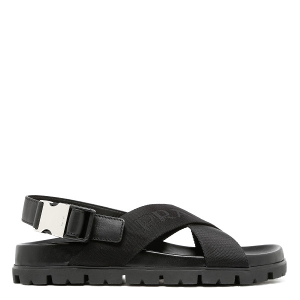 Black cross-strap sandals