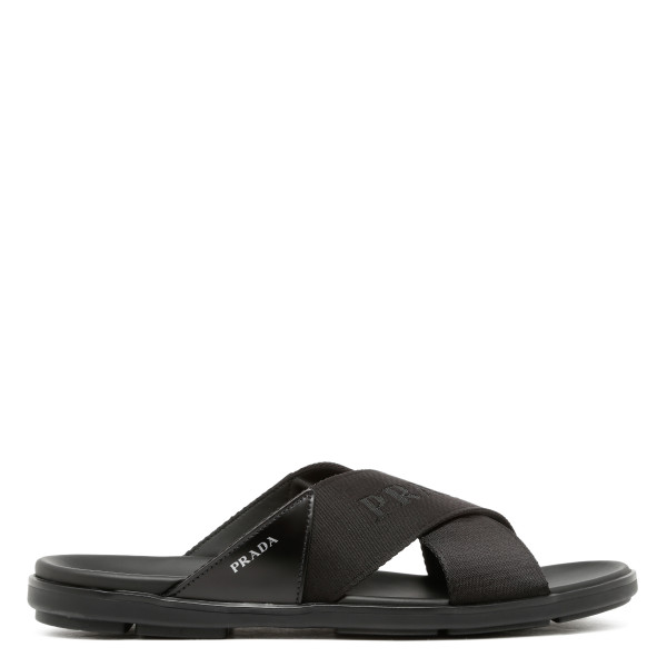 Black logo tape sandals