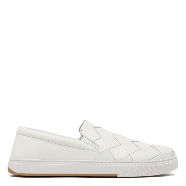 White Intrecciato slip-on sneakers