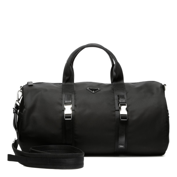 Black nylon and saffiano duffle bag