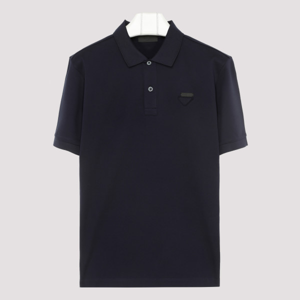 Blue cotton polo T-shirt
